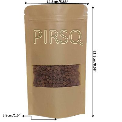 "Kraft Stand Up Paper Pouches With Window | W-6"" X H-8.5"" Image"