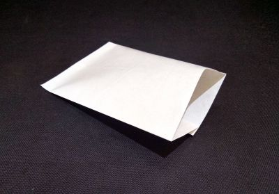 "White Polycoated Sealable Paper Pouch | W-5"" x H-7"" Image"