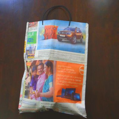 "Paper Bag  With Handle | H-15"" x W-12"" 
