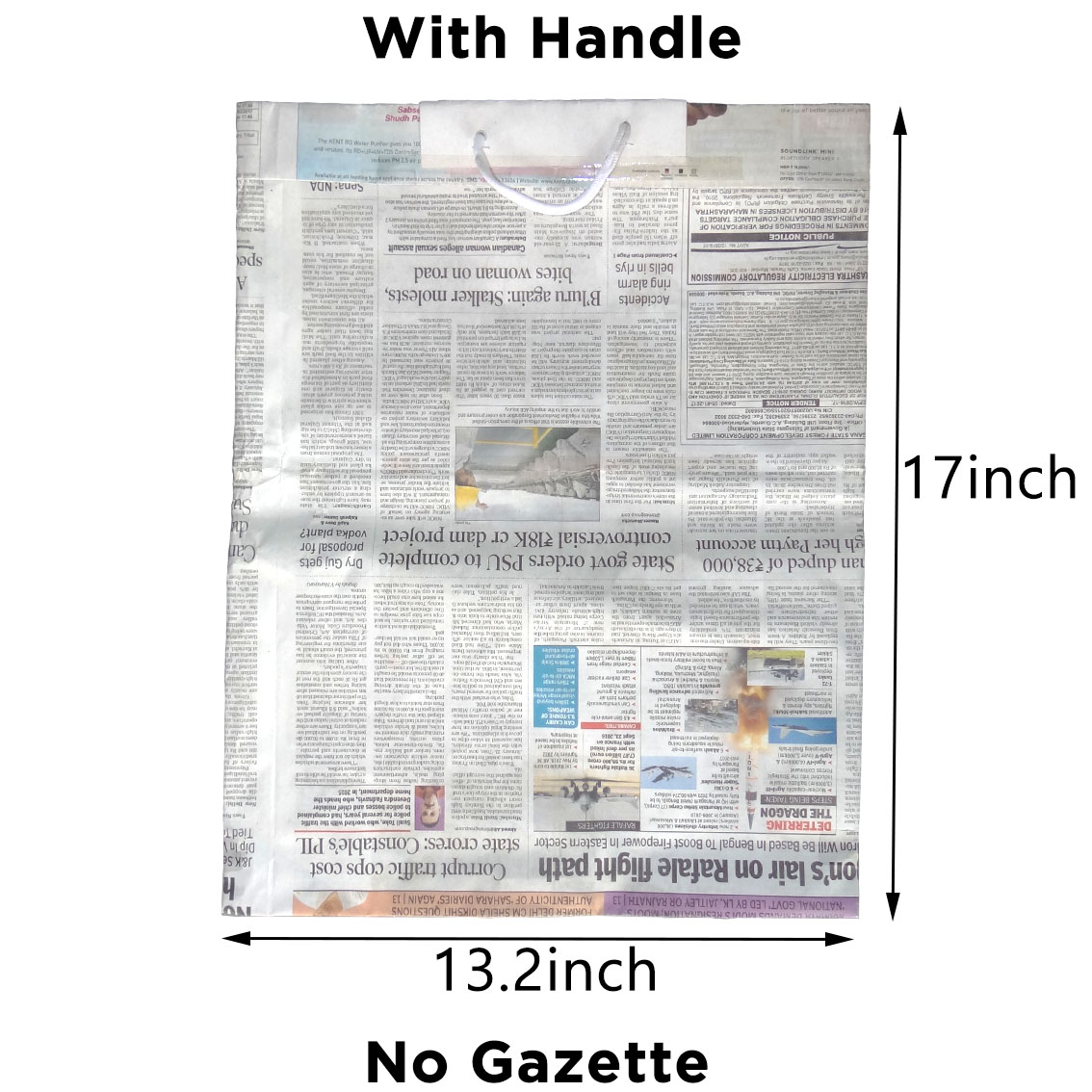 "Newspaper Bag With Handle | H-17"" x W-13"" 