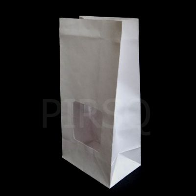 "Stand Up Paper Bag White Color | H-9"" X W-4.5"" X B-3""  Image"