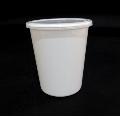Tall White Round Plastic Container With Lid | 750 ML Image