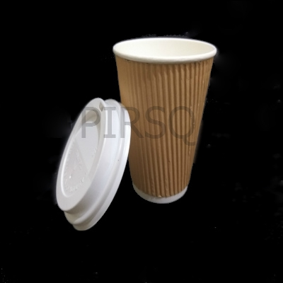 Customized Rippled Paper Cup With Lid | 350 ML Image