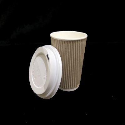 Customized Rippled Paper Cup With Lid | 250 ML Image