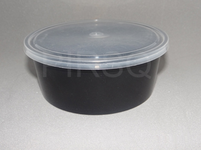 Black Round Plastic Container With Lid | 750 ML Image