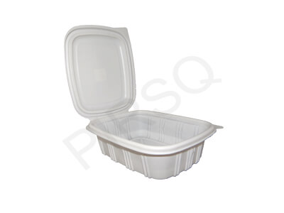 White Color Plastic Container With Lid | Hinged | 800 ML Image