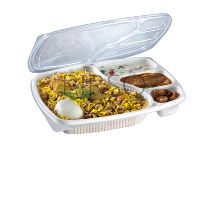 Plastic Meal Tray With Lid | 4 Compartment  Image