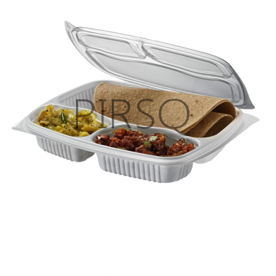 Plastic Tray With Lid | 3 Compartment  Image
