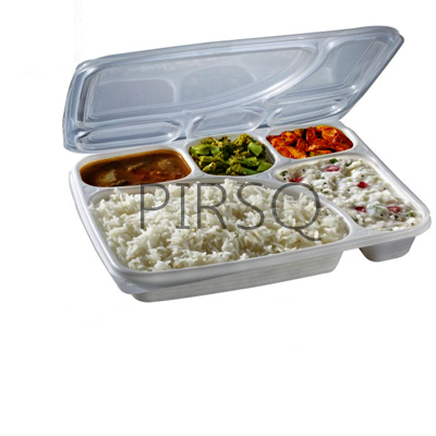 Plastic Meal Tray With Lid | Mini Superb Lunch Tray | 5 Compartment  Image