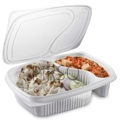 Plastic Tray With Lid | 2 Compartment  Image