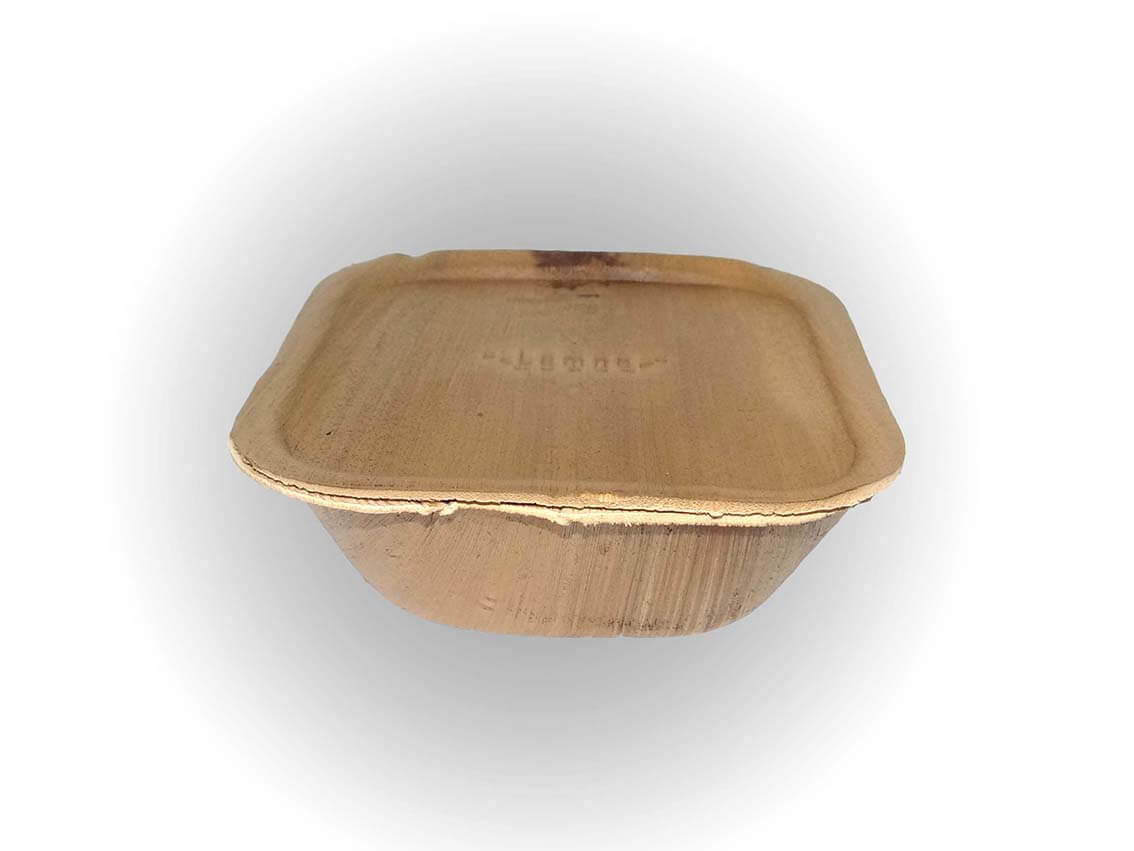 Square Areca Bowl With Lid | 450 ML Image