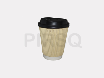 RIPPLED PAPER CUP | With Lid | 300 ML  Image