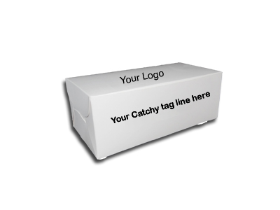 "Paper Box With Logo | Food Grade | White Color | W - 8"" X L - 4"" X H - 3"" Image"
