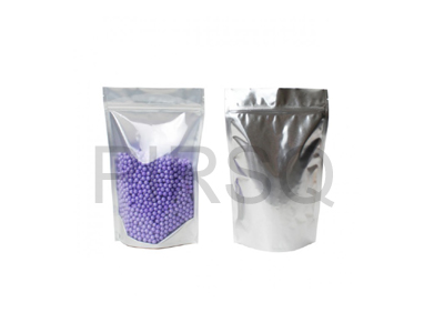 "One Side Silver Stand Up Pouch With Ziplock | W - 5"" X H - 8"" Image"