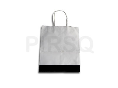"White Paper Bag With Handle | With Logo | W - 10"" X H - 12"" X G - 10"" Image"