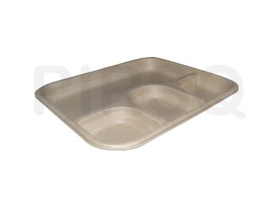 Bagasse Meal Tray With 4 Compartment Image
