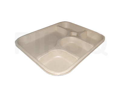 Bagasse Meal Tray With 5 Compartment  Image