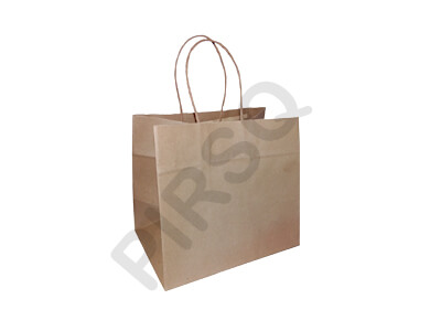 Brown Paper Bag With Handle | W-15 CM X L-22 CM X H-20 CM Image