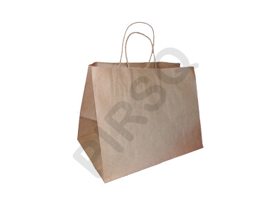 Brown Paper Bag With Handle | W-20 CM X L-34 CM X H-23 CM Image