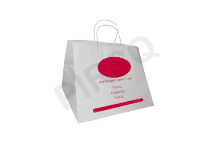 White Paper Bag With Handle | With Logo | W-29 CM X L-34 CM X H-27 CM Image