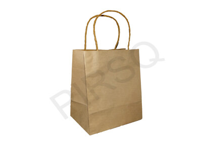 Paper Bag With Handle | H-22 CM X W-12 CM X L-18 CM Image