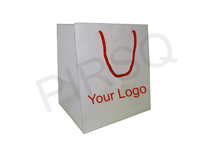 White Paper Bag With Handle | WIth Logo | W-17 CM X L-20 CM X H-22 CM Image