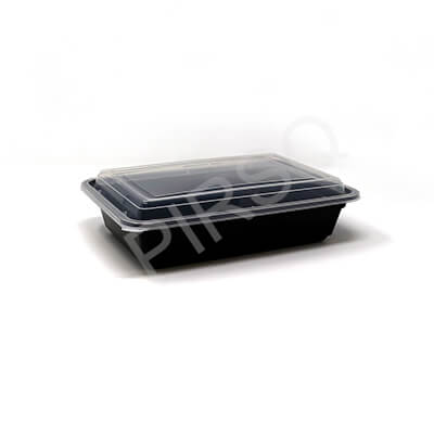 BLACK RECTANGULAR PLASTIC CONTAINER WITH LID | 960 ML  Image