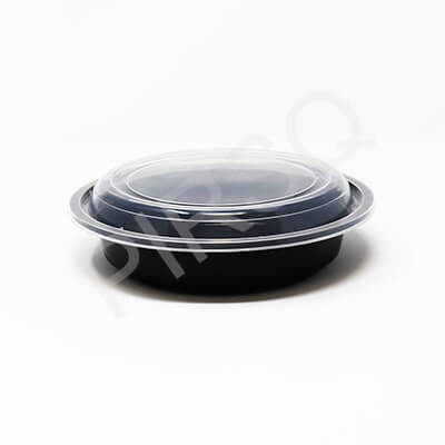 BLACK ROUND PLASTIC CONTAINER 720 ML Image
