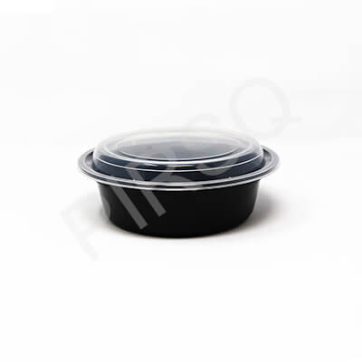 BLACK ROUND PLASTIC CONTAINER 960 ML Image