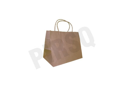 Brown Paper Bag With Handle | W-13 CM X L-23 CM H-18 CM Image