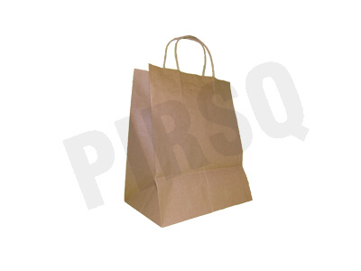 Brown Paper Bag With Handle | W-16 CM X L-23 CM X H-28 CM Image