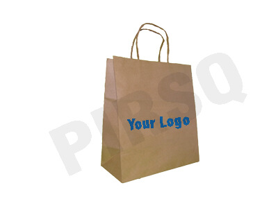 Brown Paper Bag With Handle With Logo | W-12 CM X L-24 CM X H-27 CM Image
