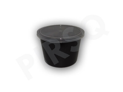 Black Round Plastic Container With Lid 500 ML Image