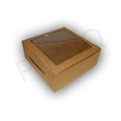 "Brown Cake Box With Window | W-10"" X L-10"" X H-4"" Image"
