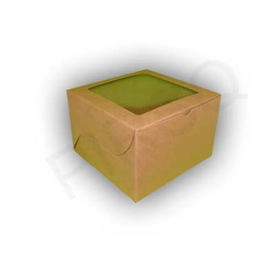 "Brown Cake Box With Window | W-6"" X L-6"" X H-4"" Image"