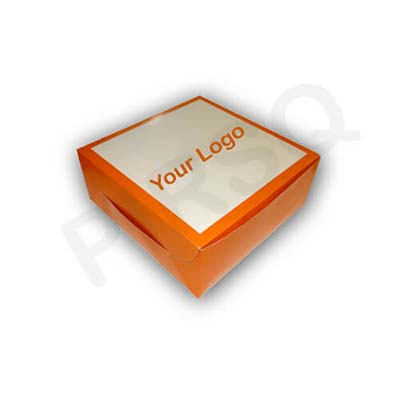 "Cake Box With Logo | W-10"" X L-10"" X H-4"" Image"