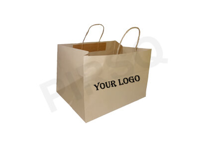 Brown Kraft Paper Bag With Handle | Imported Paper | W- 25 CM X L-33 CM X H-22 CM Image