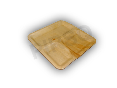 Areca Leaf Plate | Square |  3 Compartment Image
