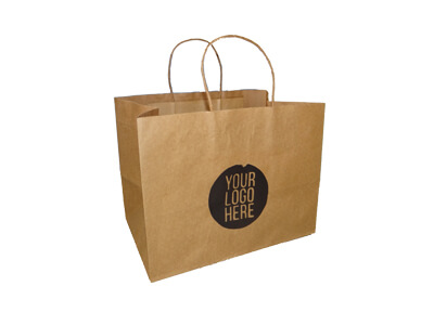 Brown Paper Bag With Handle | With Logo | L-29 cm x H-20 cm x W-19 cm | 1 KG Image