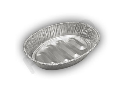 Aluminium Food Container With Paper Lid | Oval | 600 ML Image