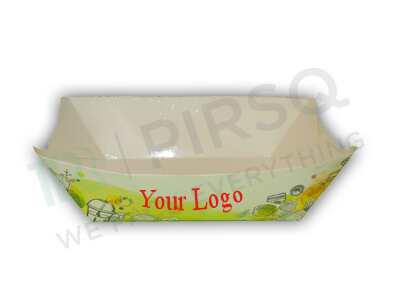 "Paper Tray | With Logo | Boat Tray | W - 5.5"" X L - 8"" X H - 2.5"" Image"
