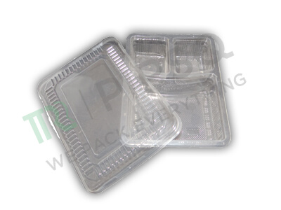 Transparent Plastic Meal Tray With Lid | 3 Compartment  Image