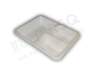 Bagasse Square Meal Tray | 3 compartment  Image