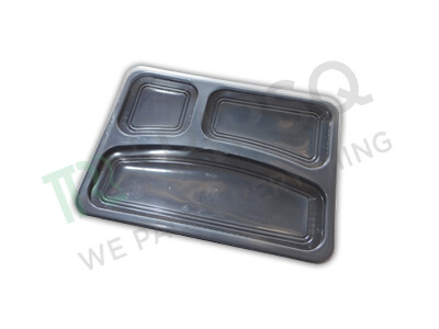 Black Plastic Meal Tray | 3 Compartment  Image
