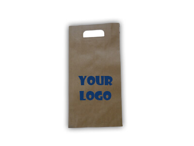 "D Cut Paper Bag With Logo | W-6.5"" X L-13"" Image"