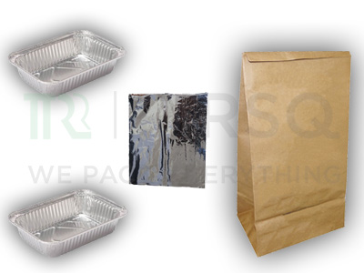 2 Aluminium Food Container | Silver Foil Pouch | Paper Bag Image