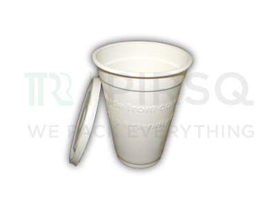 Cornstarch Cup With Lid | Eco Friendly | 350 ML Image