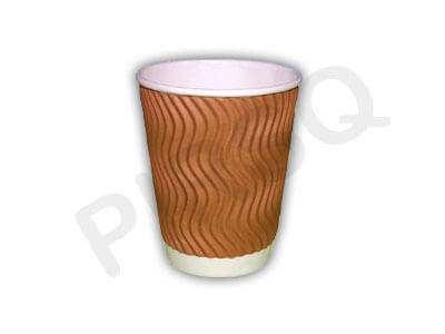 Rippled Paper Cup With Lid | 350 ML Image
