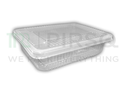 Transparent Rectangular Plastic Container With Lid | 750 ML Image