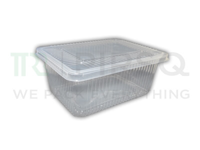 Transparent Rectangular Plastic Container With Lid | 1000 ML Image